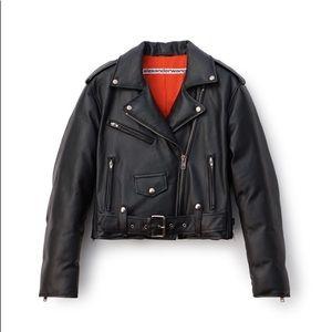 Alexander Wang Black Padded Leather Biker Jacket